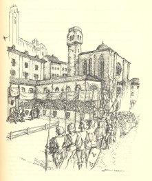 Recreació d'una justa celebrada a l'antiga plaça Sant Joan de Lleida. Dibuix a càrrec d'en Miquel Roig Nadal.